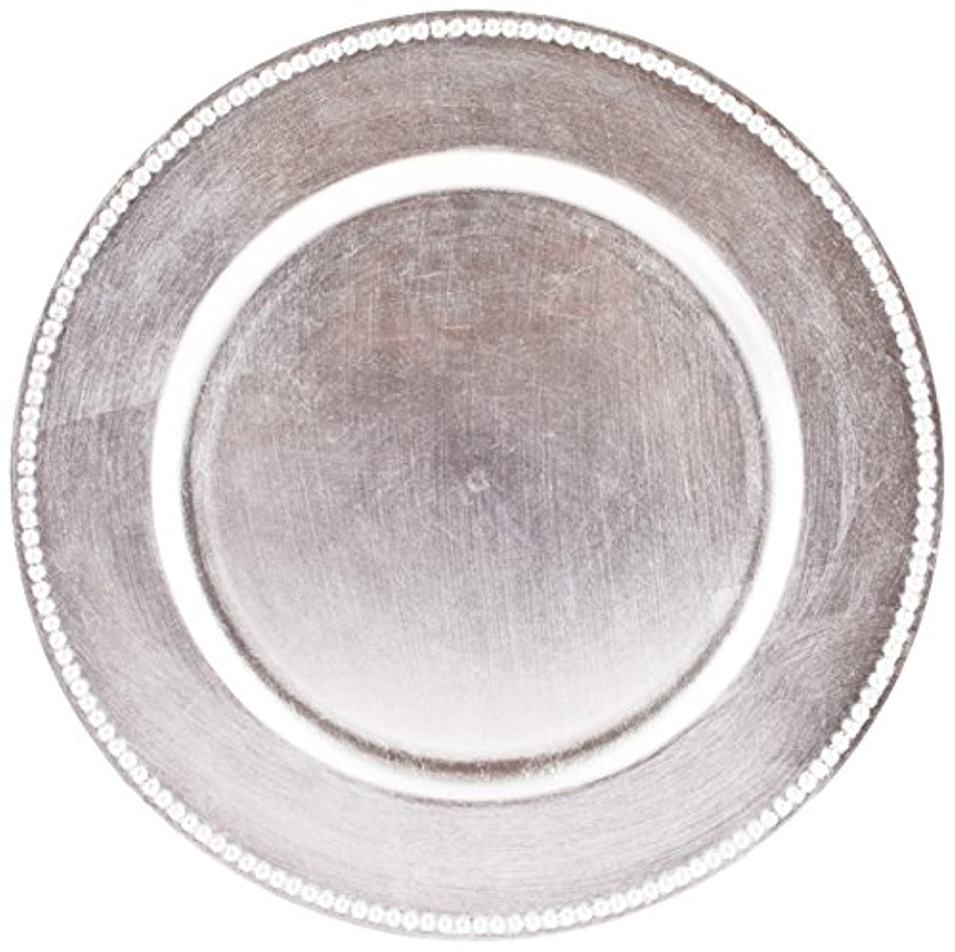 Koyal Wholesale 424467 Beaded 4 pack Charger Plates, 13 inch, Silver