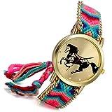 Lancardo Orologio bracciale regolabile per donna con cinturino in tessuto con quadrante di modello cavallo, caso in oro (A)