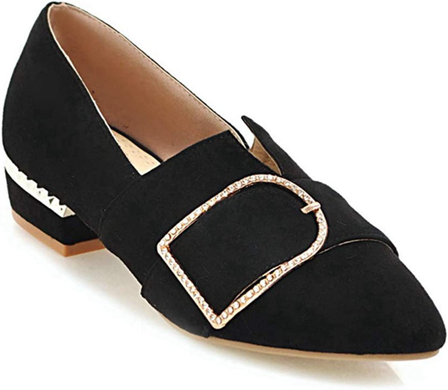 KEREE Women's Buckle Round Toe Flat Pump Loafers Comfort Casual Slip on Low Heel Wlaking Dress shoes