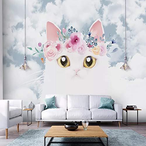 DZBHSCL 4D behang wandschilderingen, Nordic cartoon schattige witte kat dier met slinger Hd kunstdruk grootte wandschilderij fotobehang voor kinderkamer kinderkamer kleuterschool achtergrond muur decoratie 116in×192in 290cm(H)×480cm(W)