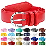 Falari Women Genuine Leather Belt Fashion Dress Belt With Single Prong Buckle 6028-Red-XL
