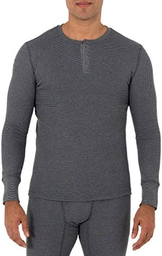Fruit of the Loom Men s Recycled Waffle Thermal Underwear Henley Top 1 and 2 Packs Greystone product image