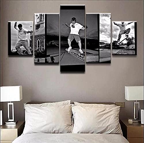 Cuadro En Lienzo,Imagen Impresión,Pintura Decoración Cuadro Skateboarding Deportivo Cuadro Moderno En Lienzo 5 Piezas,Murales Pared Hogar Decor XXL 150x80cm(60x32inch)