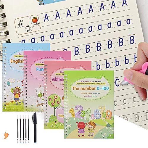 Magic Practice Copybook for Kids | The Print Handwiriting Workbook | Reusable Writing Practice Book for Preshcool and Kindergarten(4PCS, N)