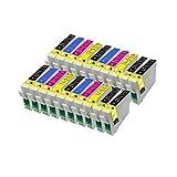 ECS - Cartucho de tinta compatible con T0551 T0552 T0553 T0554 para impresora Epson Stylus Photo R240 R245 RX420 RX425 RX520 (20 unidades)