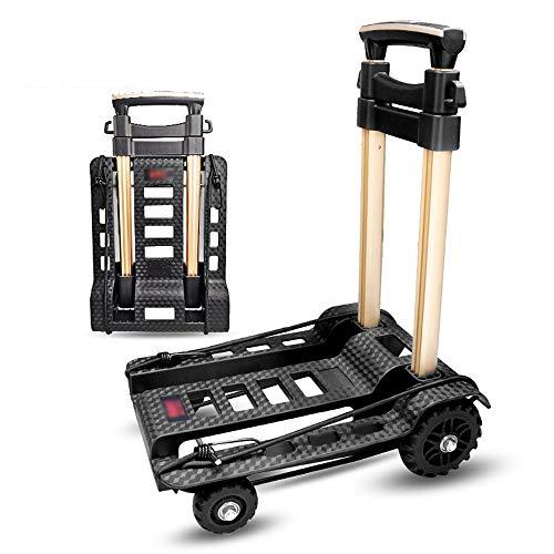 CRAZY Zusammenklappbarer Handwagen, tragbares Aluminium-Handwagenrad 360 ° drehbar für den Einkauf Geschäftsreisen Frachtumschlag