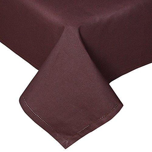 HOMESCAPES Nappe de Table rectangulaire, Linge de Table en Coton uni Chocolat - 137 x 228 cm