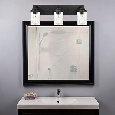 MELUCEE Vintage Bathroom Lighting Fixtures Over Mirror, 3-Light Modern Vanity Lights Black Finish Industrial Wall Sconce with