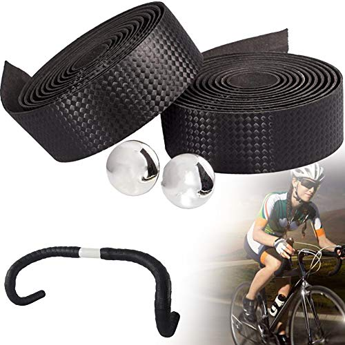 1 Paar Fahrrad-lenkerband Carbon-Faser-Fahrrad-Lenker Strap Anti-Skid-Fahrrad-lenkerband Rennrad Bar Bänder Mit Bar Plugs (schwarz)
