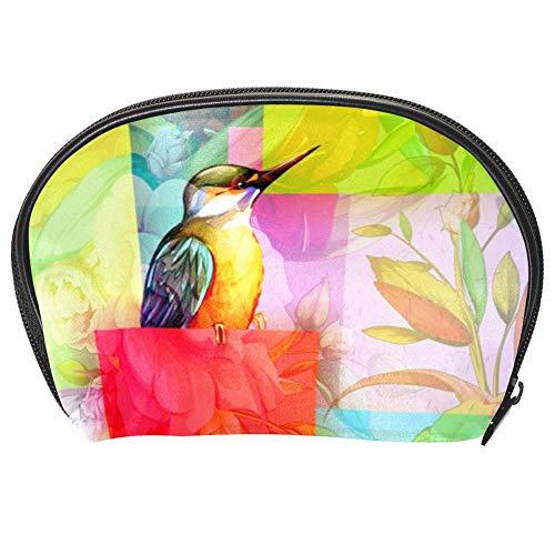 Tizorax Sac à cosmétiques avec motifs carrés Motif oiseaux et fleurs