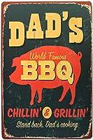お父さんのバーベキュー料理の日レトロメタルサインブリキ塗装田舎田舎バーベキュープラークアートポスターバーパブカフェホーム壁の装飾