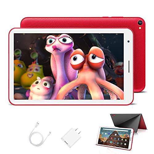 Kinder Tablet 8 Zoll mit WiFi 3GB + 32GB/128 Erweiterbar Android 10.0 Pie Zertifiziert von Google GMS 1,6Ghz Kids Tablet Quad Core 5000mAh Dual Kamera Tablet PC Netflix Lernspiele(Rot)