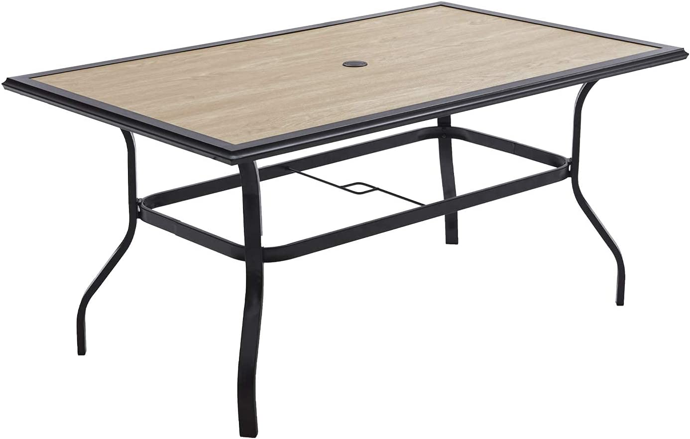 Patio Dining Table New Store sales Wood-Like Top Frame Sturdy 6 Metal for