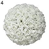 qingsb Bola de rosa artificial de seda para colgar, decoración de boda, fiesta de bebé,...