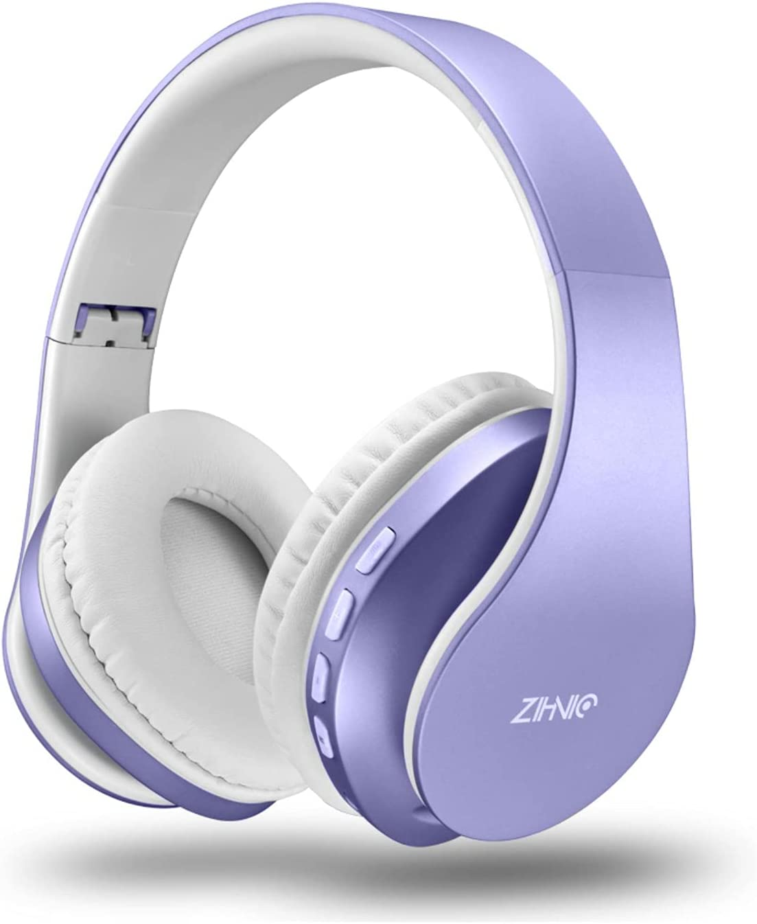 Bluetooth Headphones Over-Ear, Zihnic Foldable Wireless and Wired Stereo Headset Micro SD/TF, FM for Cell Phone,PC,Soft Earmuffs &Light Weight for Prolonged Wearing (Purple)