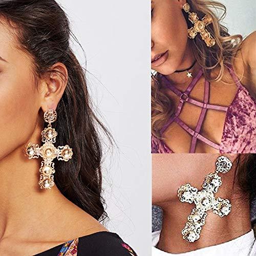 Byrhgood Pendientes de Cruz de Diamante de Oro con Personalidad de Las Mujeres Europeas y Americanas 9.8 * 6cm