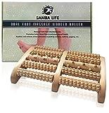 Dual Foot Massager Wooden Roller Feet Acupressure Reflexology Help to Relieve Plantar Fasciitis, Heel & Foot Arch Pain, Flatfeet, Stress Relief & to Improve Nerve Flow by Samba Life