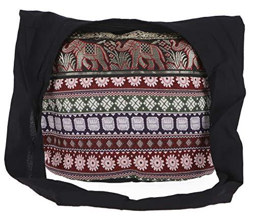 Guru-Shop Sadhu Bag, Schulterbeutel, Hippie Tasche Ikat - Schwarz/rot, Herren/Damen, Baumwolle, Size:One Size, 30x45x20 cm, Bunter Stoffbeutel