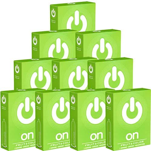 On) Fruit & Color Sparpack! 30 (10 x 3) bunte Kondome mit Aroma - Mehrfachpack - 10 Kleinschachteln, ideal für unterwegs