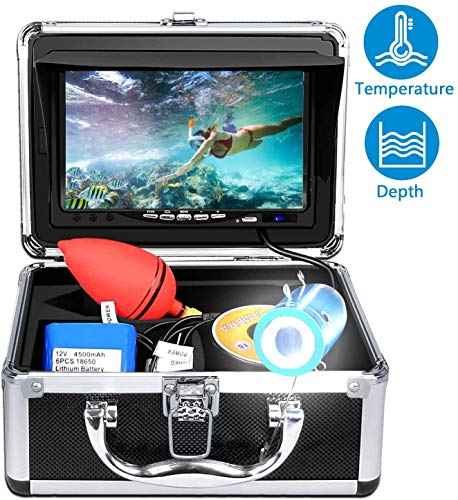 Portable Underwater Fishing Camera with Depth Temperature Display-Waterproof HD Camera and 7'' LCD...