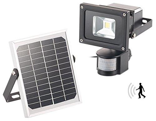 Luminea Solar LED Fluter: COB-LED-Solar Wandstrahler mit PIR-Bewegungssensor, 10 Watt, 600 Lumen (LED Solar Bewegungsmelder)