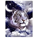 HommomH Tiger Blanket,Starry Night White Bengal Tiger,Soft Fluffy Fleece Throw 50'x80',Blue