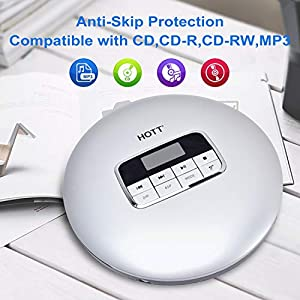 CD Player Portable, HOTT Small CD Player with Headphones, Personal Compact Discman CD Player Walkman Music CD Player, LCD Display, Electronic Skip Protection and Anti-Shock Function