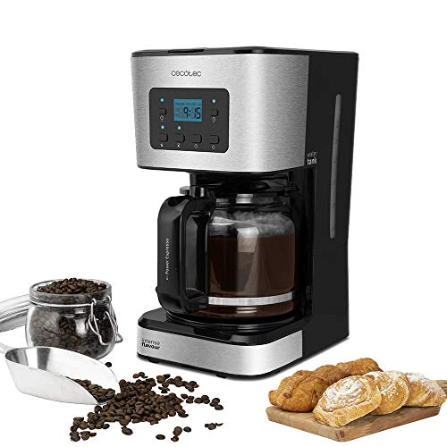 Cecotec Cafetera Goteo Coffee 66 Smart. 950 W, Programable 24h, Tecnología ExtemAroma, Función AutoClean, Acabados en Acero Inoxidable, Pantalla LCD, Jarra de Vidrio de 1,5 L