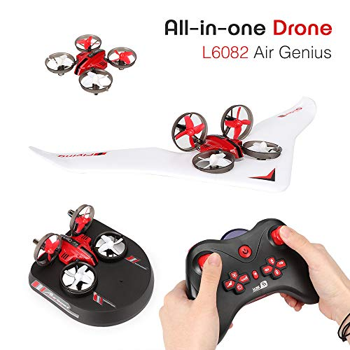 Mini Drone RC Glider Plane Hovercraft -YSTFLY 3 in 1 RC Quadcopter with 2.4Ghz Remote Control 3D Flip Headless Mode All in One Drone L6082 for Kids (3 Batteries)