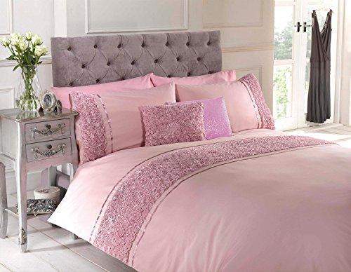 Juego de fundas de edredón nórdico Rapport Ropa de cama rosa y cinta de polialgodón, algodón y poliéster, rosa, king