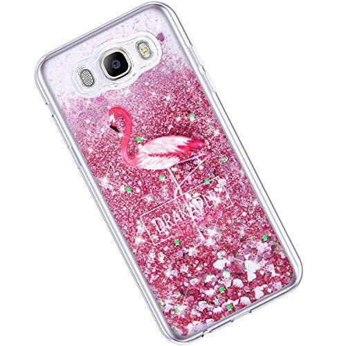 Qjuegad Compatible avec Samsung Galaxy J5 2016 Coque Ultra Slim Pailleté Glitter Quicksand Silicone Étui Transparente avec Motif Etui Antichoc Housse de Protection Back Cover Bumper Shell, Flamingo#1