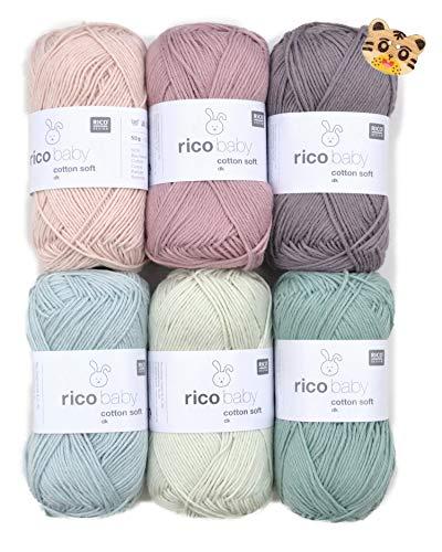 Woll-Set Babywolle Rico Baby Cotton Soft dk 6x50g #46, Baumwollmischgarn, weiche Wolle zum Stricken und Häkeln mit Tigerknopf