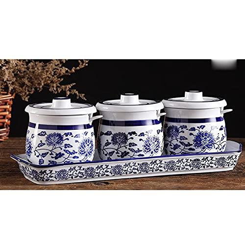 Pentola per condimenti in Ceramica da Cucina con Coperchio a Cucchiaio Vano Contenitore Desktop Grande capacità Scatola Facile da Pulire e Antipolvere (Set da Tre Pezzi),A