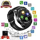 Smartwatch, Impermeable Reloj inteligente Redondo con Sim Tarjeta Camara Whatsapp, Bluetooth Tactil Telefono (Negro)