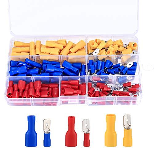 (Rojo, Amarillo, Azul, 150 Piezas)-Juego de Conectores Eléctricos de Crimpado de Cable, Terminales Eléctricos Surtidos, Terminales de Crimpado Aislados, Herramientas Eléctricas de Conexión Rápida