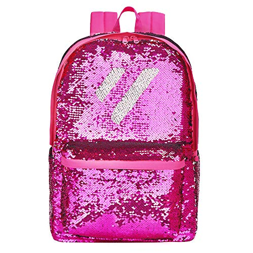 Flip Sequin School Backpack Bookbag for Girls Kids Teen Cute Glitter Sparkly Book bags Back Pack (Hot Pink)