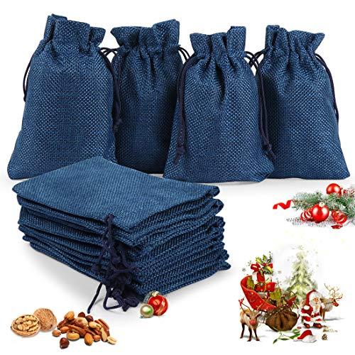 O-Kinee Adventskalender zum Befüllen,24er Set Jutesäckchen,Stoffbeutel,DIY Handwerk,Natur Säckchen,Geschenksäckchen Weihnachten, für Weihnachtskalender DIY, 13cm x 18cm(Blau)
