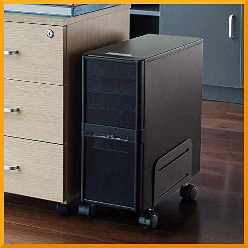 ATX - Soporte para torre de ordenador con ruedas, color negro