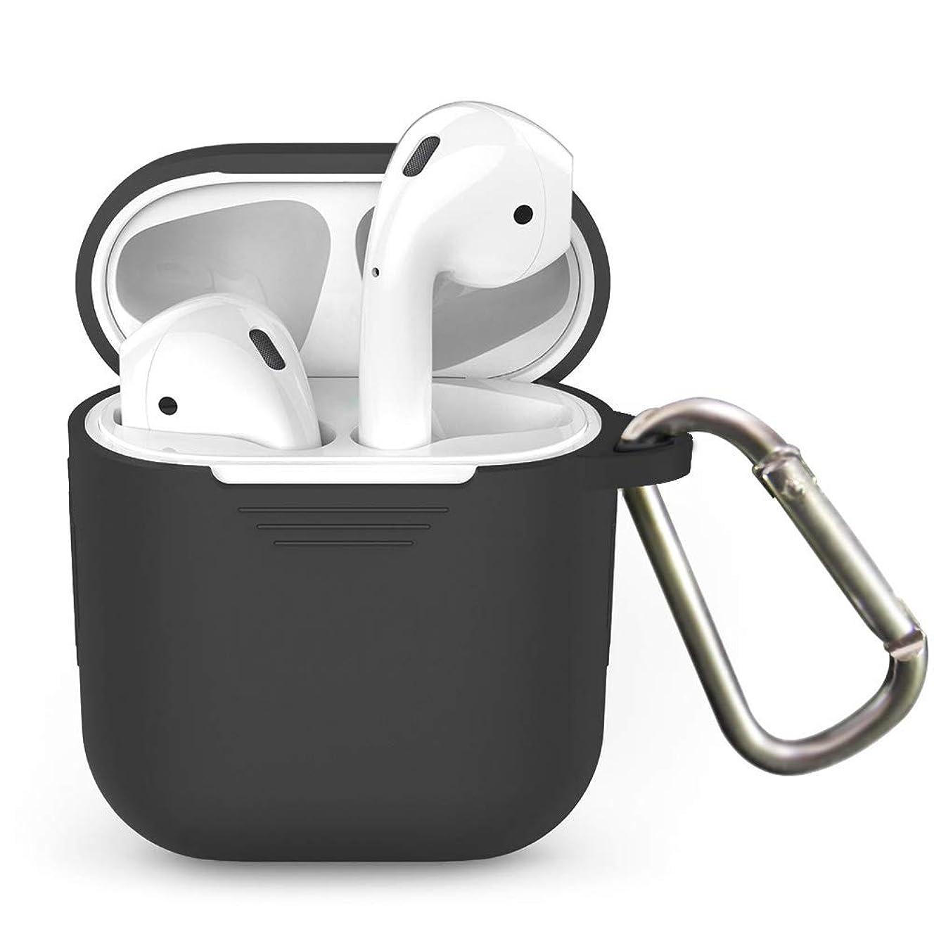 わざわざ塊労苦L-park Apple AirPods ケース カバー シリコン 保護 iPhone XS/iPhone XS Max/iPhone XR/iPhone X / iPhone8 / 8 Plus / iPhone7 / 7 Plus エアーポッズ/エアーポッド 専用 (ブラック)