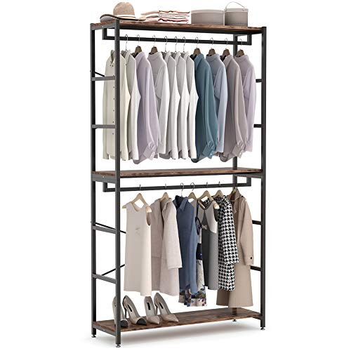 Tribesigns 47 inches Double Rod Closet Organizer, Tall Freestanding 3 Tiers Shelves Clothes Garment Racks, Large Clothing Storage Shelving Unit for Bedroom Laundry Room ,Vingtage Walnut