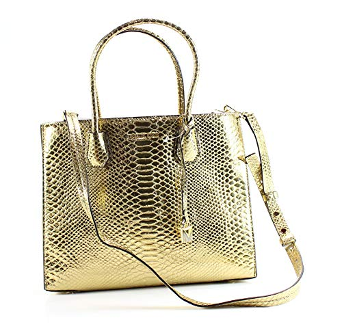 """Pale Gold Snake Embossed leather. Open- top. Exterior : Gold-tone hardware, logo & hanging lock charm. Interior : 1 zip pocket and 1 center zip compartment with polyester lining. 5.5""""L double handles; 15.75""""L to 18.25""""L adjustable shoulder strap ; 12..."""