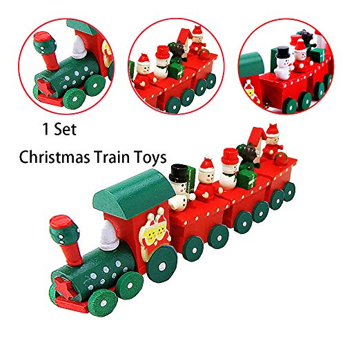 kungfu Mall 1 PC Cute Wooden Christmas Train Toys Set...