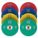 CAPITAL SPORTS Performan Juego completo Discos de peso 4 parejas 10-25 kg (Poliuretano, Dead Bounce, ideal barra olímpica o Cross-Training, Weight Drops - Saques, baja fricción)