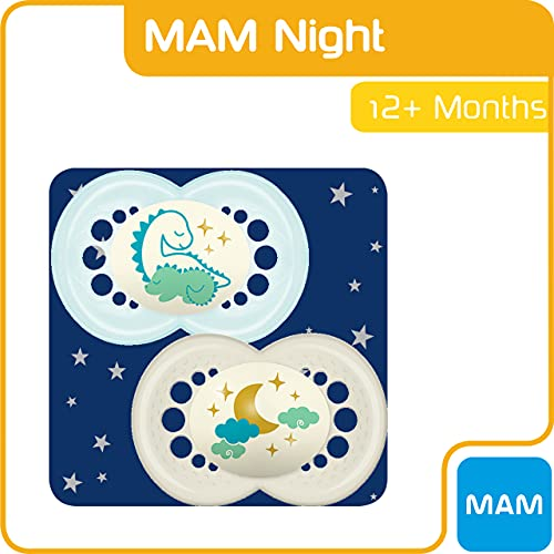 MAM Night Soothers 12+ Months (Pack of 2), Glow in the Dark Baby Soothers with Self Sterilising Travel Case, Newborn Essentials, Blue, (Designs May Vary)