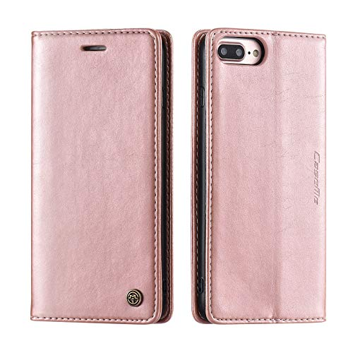 QLTYPRI Case for iPhone 6 Plus 6S Plus, Vintage PU Leather Wallet Case Card Slot Kickstand Magnetic Closure Shockproof Flip Folio Case Cover for iPhone 6 Plus 6S Plus - Rose Gold