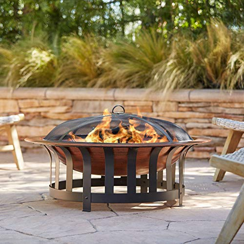 John Timberland Zurich Copper and Black Outdoor Fire Pit Round 40' Steel Wood Burning with Spark Screen and Fire Poker for Backyard Patio Camping Deck