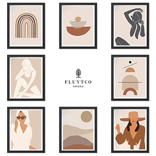 Boho Color Art Prints - Set of 8 Abstract & Figurative Pictures - Minimalist & Modern Wall Decor for Home or Office - Woman's Body Shape Collage