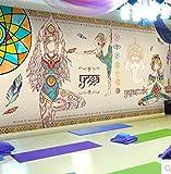 CQDSQN 3D pegatinas de pared Papel pintado Marrón yoga estatua de Buda religión figura PVC Auto-adhe...