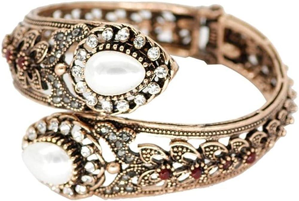 Retro Vintage Bangle Turkish Bracelets, Gold Color Ethnic Pearls Cuff Bracelets Bangle, Jewelry Come Gift Box, Women Girls Motivational Birthday