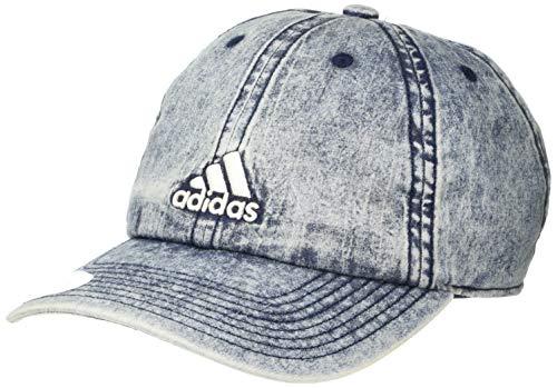 Adidas Saturday Plus - Gorra Ajustable para Mujer, Gorra Ajustable y Relajada de Saturday Plus, Mezclilla Lavada/Blanco, Una Talla